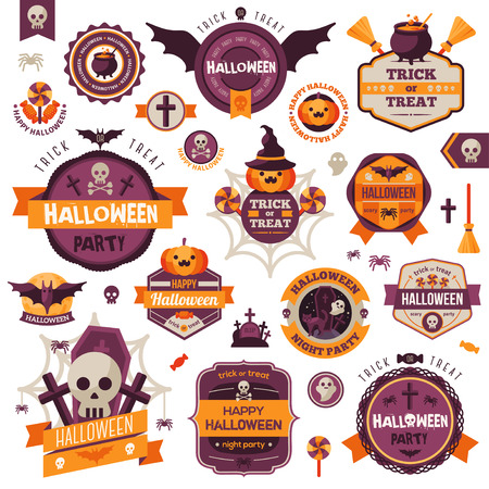 Set Of Vintage Happy Halloween Badges and Labels. Halloween Scrapbook Set. Ribbons, Flat Icons and Other Elements. Vector illustration. Cute Halloween Characters. Vettoriali