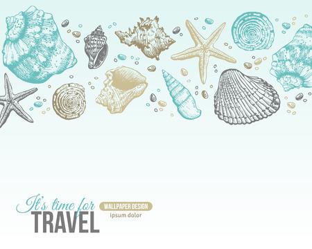 Shells verano Postal Diseño. Vector de fondo con conchas de mar, estrella de mar y arena. Hand Drawn Grabado Estilo. Lugar para su texto.