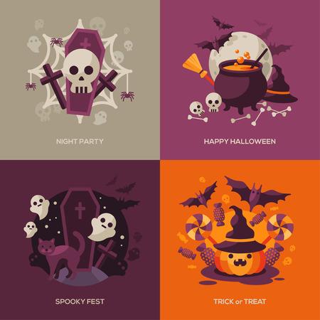 calabaza: Conjunto de conceptos de Halloween. Ilustraci�n del vector. Naranja Calabaza y Telara�a, sombrero de la bruja y caldera, Bandera de piratas. Partido de la noche de Halloween. Truco o trato.