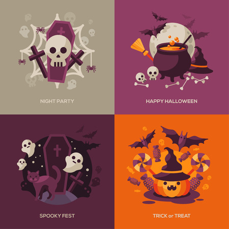 witch on broom: Set of Halloween Concepts. Vector Illustration. Orange Pumpkin and Spider Web, Witch Hat and Cauldron, Skull and Crossbones. Halloween Night Party. Trick or Treat.