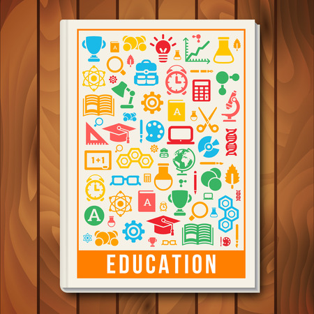 book cover design: Vector Education Concept. E-learning and Science Icons and Signs in Square Frame. Book Cover Design Template. Back to School. Arts and Science. Illustration