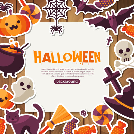 spider: Halloween Background. Vector Illustration. Flat Halloween Icons with Square Frame. Trick or Treat Concept. Orange Pumpkin and Spider Web, Witch Hat and Cauldron. Wooden Backdrop.