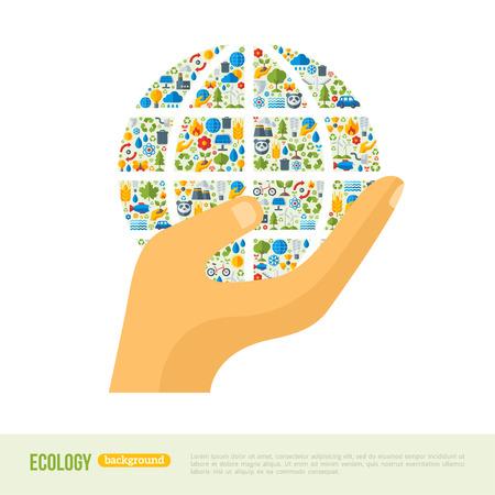 生態アイコン パターンが付いている地球を持っている手。ベクトルの図。生態学的創造的な概念。インフォ グラフィック テンプレートを抽象化し