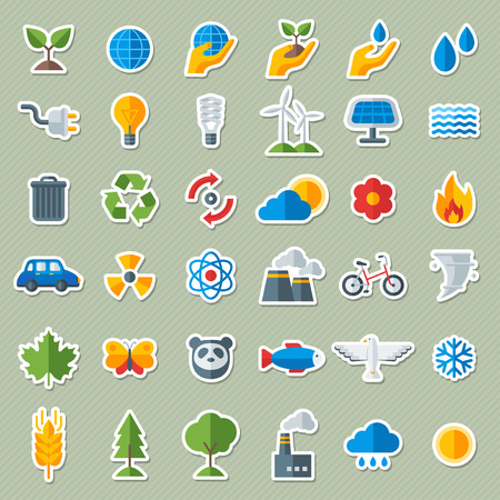 생태학 플랫 아이콘 스티커 세트. 벡터 일러스트 레이 션. 워터 드롭과 새싹, 손과 손. 태양 에너지 서명, 풍력 에너지 로그인, 야생 동물. 지구를 저장
