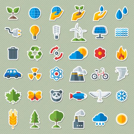 Ecologie vlakke pictogrammen stickers instellen. Vector illustratie. Hand met Sprout, met de hand met water neerzetten. Zonne-energie Sign, Wind Energy Sign, Wilde dieren. Red de planeet.