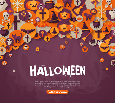 Halloween Background. Vector Illustration. Flat Halloween Icons in Circles on Dark Chalkboard Textured Backdrop. Halloween Concept. Trick or Treat. Orange Pumpkin and Spider Web, Witch Hat. Ilustração