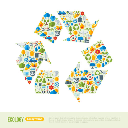 utilization: Recycling Symbol Flat Icons Concept. Vector Illustration. Ecologic Creative Concept. Abstract Infographics Template. Save the Planet Concept. Waste utilization.