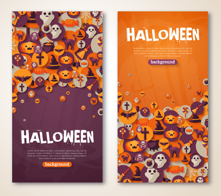 tratar: Halloween Banners Set. Vector Illustration. Flat Halloween Icons in Circles on Textured Backdrop. Trick or Treat Stickers. Halloween Party Invitation. Place for your text. Halloween menu design.
