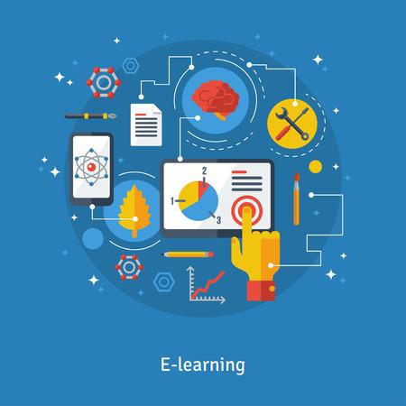 corsi di formazione: Concetto per formazione a distanza. Illustrazione vettoriale. Corsi di formazione online, formazione a distanza, e-learning. Icone piane di cervello, telefono, tablet con linee di collegamento. Online Learning