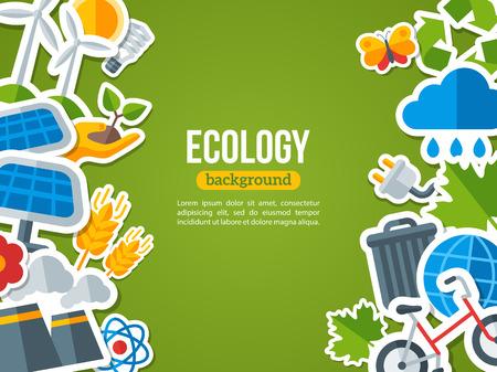 생태, 재활용 및 녹색 기술 플랫 디자인 벡터 개념. 태양 그린 에너지, 바람 에너지. 행성 배너 디자인을 저장합니다. 녹색으로 이동. 지구를 저장합니
