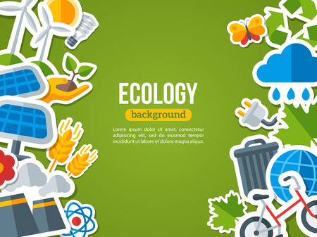 eco power: Flat Design Vector Concept for Ecology, Recycling and Green Technology. Solar Green Energy, Wind Energy. Save the Planet Banner Design. Go Green. Save the Earth. Earth Day.