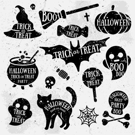 ilustracion: Conjunto de Caracteres de Halloween con el texto interior. Grunge diseño tipográfico. Elementos del libro de recuerdos. Ilustración del vector. Textura de fondo. Vectores