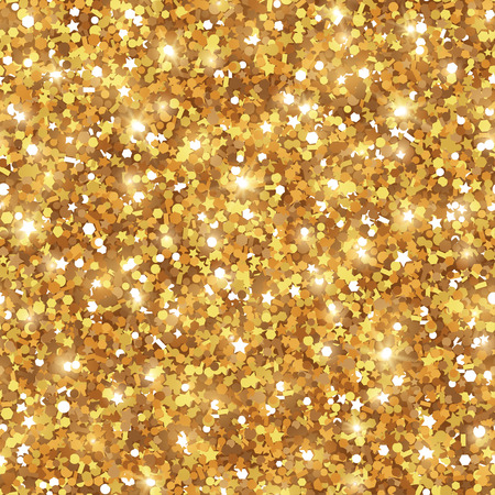 Abstract Seamless Gold Background. Sequins Tiling Pattern. Vector Illustration. Lights and Sparkles. Glowing New Year or Christmas Backdrop. Golden Dust Vettoriali