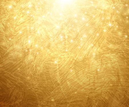 Or Fond texturé. Vector Illustration. Lumineux de Noël ou du Nouvel An Toile de fond. Les rayons du soleil d'or avec des lumières et Sparkles. Placez votre message texte. Or peinture Rougeoyer Texture. Banque d'images - 43321747