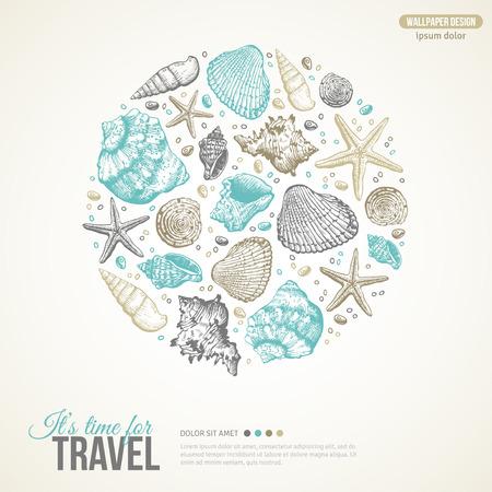 Sommer, Meer, Muscheln Konzept. Vector Hintergrund mit Muscheln, Seestern und Sand. Hand gezeichnete Stich Stil. Platz für Ihren Text. Nette Postkarten-Entwurf.