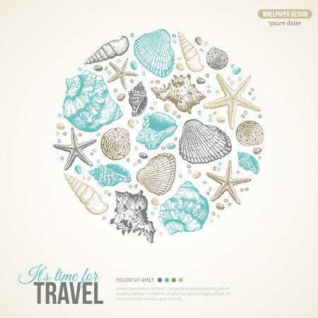 hand drawing: Summer Sea Shells Concept. Vector Background with Seashells, Sea Star and Sand. Hand Drawn Etching Style. Place for Your Text. Cute Postcard Design.