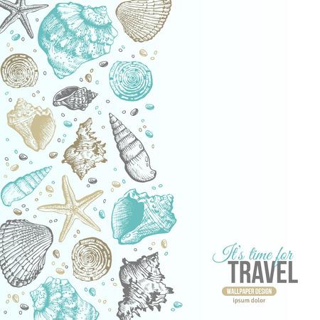 여름 바다 포탄 엽서 디자인. 조개, 바다 스타와 모래와 벡터 배경입니다. 손 에칭 스타일을 그려. 텍스트를 배치합니다. 일러스트