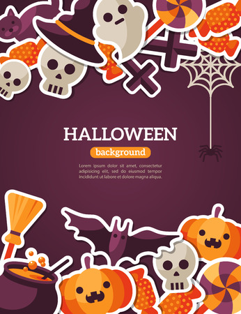 niños con pancarta: Banner Concepto de Halloween con Flat Icon Set de telón de fondo violeta oscuro. Vector Ilustración plana. Signos y símbolos de Halloween. Truco o trato. Vectores