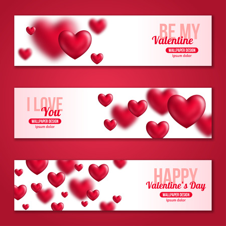 concept day: Valentines Day Horizontal Banners Set with Hearts for Holiday Design. Vector Illustration. Flying Shining Hearts. I love You, Happy Valentines Day, Be My Valentine Concept.