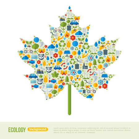 ecologic: Maple Leaf Symbol. Flat Ecology Icons Concept. Ecologic Creative Concept. Abstract Infographics Template. Save the Planet Concept. Wild Nature or Environment Sign. Illustration