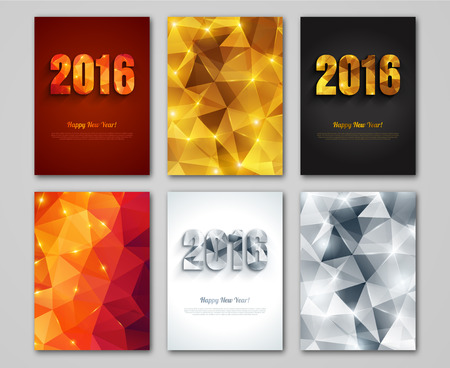 new year parties: Happy New Year 2016 golden, silver and red greeting cards in polygonal origami style. Holiday design.  Party poster, greeting card or invitation. Triangles pattern. Illustration