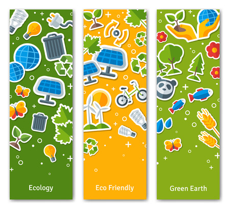 panels: Environmental Protection, Ecology Concept Vertical Design Set in Flat Style. Ecology Stickers Symbols. Green Energy, Save Planet Concept. Solar panels. Illustration