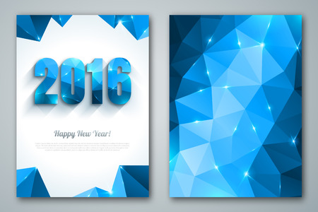 origami: Happy New Year 2016 colorful greeting cards in polygonal origami style. Holiday design. Party poster, greeting card, or invitation. Number formed by triangles.