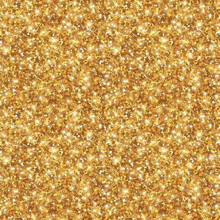 Gold Glitter Texture, Seamless Sequins Pattern.  Lights and Sparkles. Glowing New Year or Christmas Backdrop. Golden Dust. 矢量图像