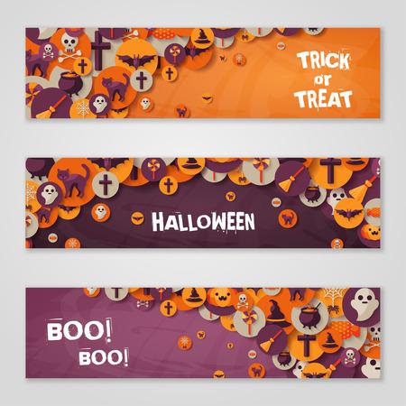wiedźma: Halloween pozioma broszury lub ulotki. Halloween Party Zaproszenie z płaskimi Ikony w kółko. Miejsce na tekst wiadomości. Zestaw z kapelusz czarownicy, Sieć pająka i dyni.