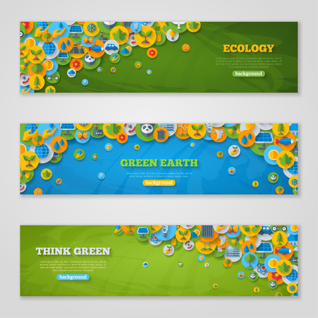 Flat Design  with Icons of Ecology, Environment, Green Energy and Pollution. Save World. Save the Planet. Save the Earth. Creative Concept of Eco Technology. Think Green.