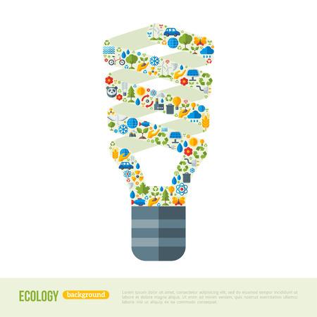 Bombilla con iconos de la ecología del patrón de ahorro de energía. Ecologic Concepto Creativo. Plantilla Infografía abstracta. Excepto el concepto del planeta.