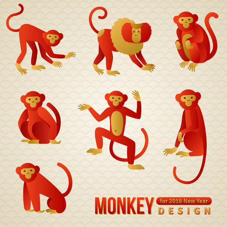 chinese style: Set of Chinese Zodiac - Monkeys. illustration. 2016 New Year Symbol. Playful Marmoset and Baboon. Sitting Monkey, Dancing Monkey. Chimpanzee Silhouette.