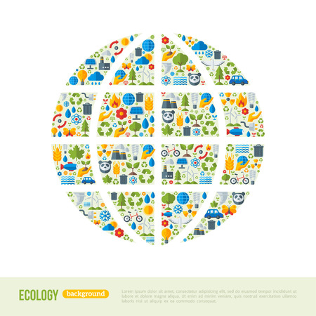 Eco Friendly, green energy concept, illustration. Globe symbol with flat ecology icons. Save the planet concept. Go green. Save the Earth. Earth Day. Ilustração