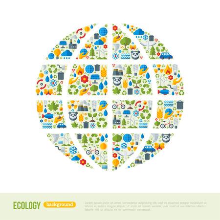 Milieuvriendelijk, groene energie concept, illustratie. Globe symbool met platte ecologie iconen. Sparen de planeet concept. Ga groen. Red de aarde. Dag van de Aarde. Stock Illustratie