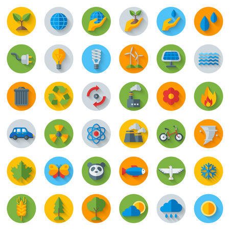 Ökologie Wohnung Icons auf Kreise mit Schatten. Set isoliert auf weiß. Illustration. Hand mit sprießen, von Hand mit Wassertropfen. Solarenergie Zeichen, Windenergie-Zeichen, wilde Tiere. Rette den Planeten. Vektorgrafik