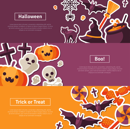 spider: Halloween Horizontal  Design. Flat Halloween Icons. Trick or Treat Concept. Orange Pumpkin and Spider Web, Witch Hat and Cauldron, Skull and Crossbones. Illustration