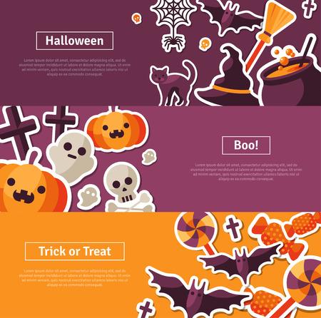 czarownica: Halloween w poziomie projektu. Płaskie Ikony Halloween. Trick or Treat Concept. Pomarańczowy Dynia i Spider Web, Witch Hat i Kocioł, Czaszką i piszczelami.