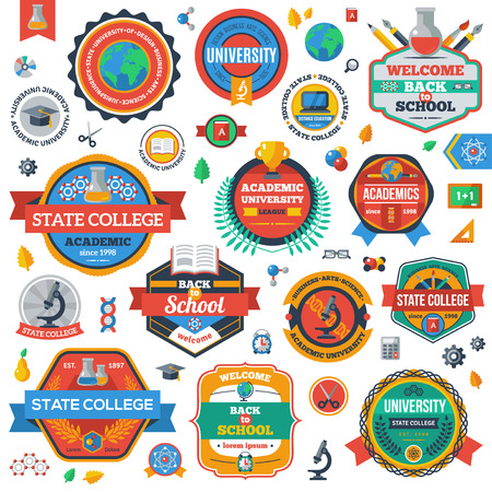 art back: University, Academy and College Emblems Set.  Education Industry Design. Isolated on White Background. State College Sign. Academic University Stamp. Back to School Icons. Illustration