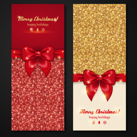 backdrop: Vector Christmas and New Year Invitation Cards with Shiny Glitter and Decorative Bows. Gold Glitter Texture, Sequins Pattern. Lights and Sparkles. Glowing New Year Backdrop.