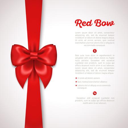 Cinta roja con lazo de satén aislado en blanco. Ilustración del vector. Invitación decorativo Plantilla de la tarjeta, vale Diseño, Holiday Diseño Invitación.