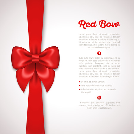 bows: Red Ribbon with Satin Bow Isolated on White. Vector Illustration. Invitation Decorative Card Template, Voucher Design, Holiday Invitation Design.