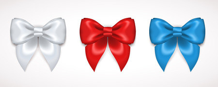 Set of Silk Bow. Vector Illustration. White, Red and Blue Bows for Gift Design, Invitation Decorative Cards, Voucher Design, Holiday Invitation Design.
