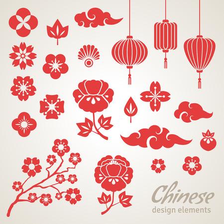 plum: Iconos chinos decorativos - nubes, flores y luces chinas. Ilustraci�n del vector. Sakura Branch. Flores de peon�a. Linterna china.