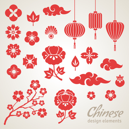 Iconos chinos decorativos - nubes, flores y luces chinas. Ilustración del vector. Sakura Branch. Flores de peonía. Linterna china. Foto de archivo - 44249330