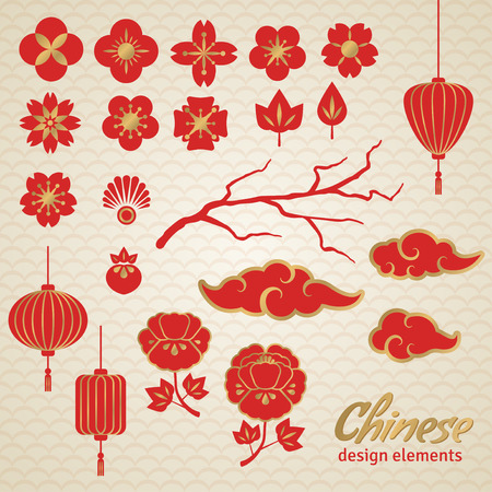 plums: Chinese Decorative Icons - Clouds, Flowers and Chinese Lights. Vector Illustration. Sakura Branch. Peony Flowers. Chinese Lantern.