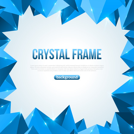 Blue abstract shining ice background. Vector illustration. Crystal frozen structure. Cold crystals frame. Polygonal backdrop with sparkles. Beautiful geometric design for business presentations.