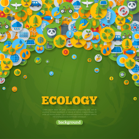 Ecology Background with Flat Icons on Circles. Environmental Protection, Ecology Concept Poster. Vector illustration. Green Energy, Wild Nature, Solar panels, Recycle, Growing Sprout Icons.