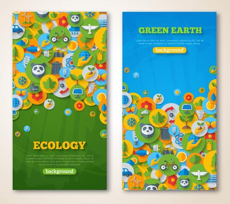 medio ambiente: Banderas verticales Set con los iconos de Ecología, Medio ambiente, energía verde y la contaminación. Ahorre mundo. Salve el planeta. Salvar la Tierra. Concepto creativo de Eco Technology. Protección del medio ambiente.