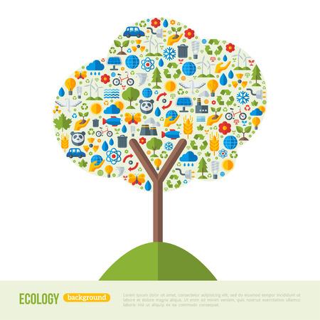 Milieuvriendelijk, Green Energy Concept, vector illustratie. Boom symbool met platte ecologie iconen. Sparen de planeet concept. Ga groen. Red de aarde. Dag van de Aarde. Groei teken, nieuw leven Stock Illustratie