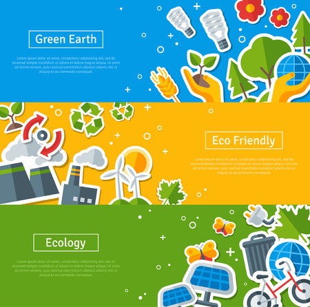 Environmental Protection, Ecology Concept Horizontal Banners Set in Flat Style. Vector illustration. Ecology Stickers Symbols. Green Energy, Save Planet Concept. Solar panels. Hand Holding Sprout. Ilustracja